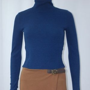NEW Navy Blue Turtle Neck & Brown Dress Sz S